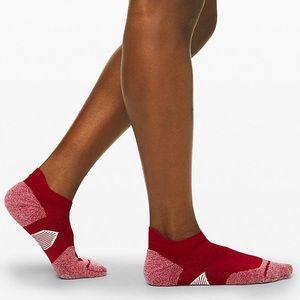 Lululemon Speed Sock *Silver Dark Red/White combo